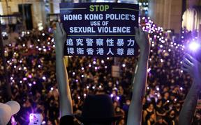 Thousands gathered at Chater Garden of Hong Kong on Wednesday Aug 28, 2019 to demand answers from Hong Kong police over alleged instances of sexual violence during extradition bill protests.