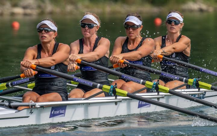 Hannah Osborne, Sam Voss, Ruby Tew  and Kirstyn Goodger NZ women's rowing quad.