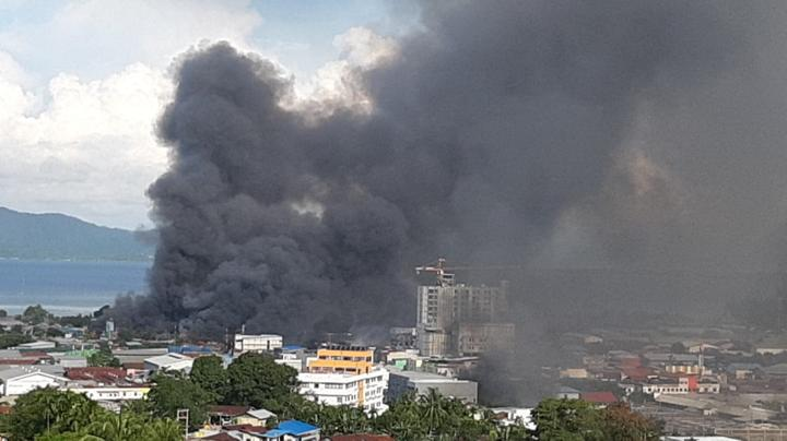 Jayapura burning after protestors torched the Papuan provincial capital and other buildings, 29 August 2019