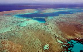 Landscape of the Great Barrier Reef in the Coral Sea off the coast of Queensland, Australia, 2018.