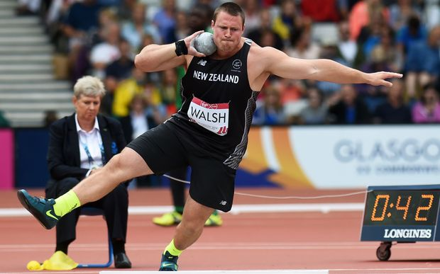 Tom Walsh who broke a Commonwealth Games record throw of 21.24 during qualifying for the Men's Shot Put. Track and Field at Hampden Park. Glasgow Commonwealth Games 2014. Sunday 27 July 2014.
