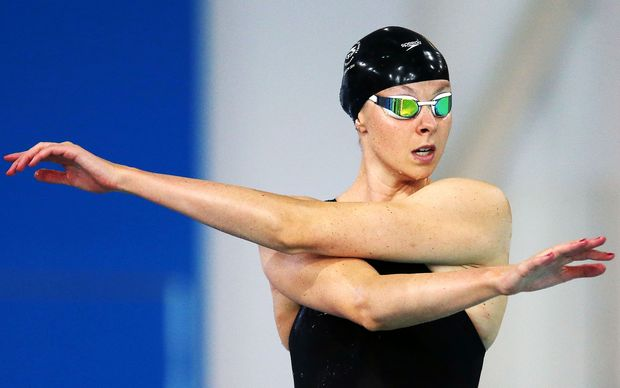 Lauren Boyle of New Zealand prepares in the Womens 800m Freestyle Heats on Day 4. Glasgow 2014 Commonwealth Games.
