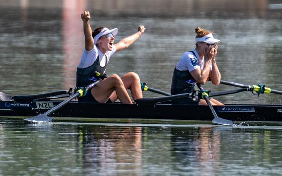 Jackie Kiddle (Star Boating Club) and Zoe McBride (Nelson RC) NZ Womens Lightweight Double Scull  Finals races at the World Championships, raced on the Regattastrecke, Linz Ottensheim, Austria. Saturday 31 August 2019  © Copyright photo Steve McArthur / www.photosport.nz