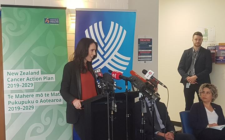 Prime Minister Jacinda Ardern outlines the contents of the cancer action plan in Auckland.Photo/RNZ/Jordan Bond.