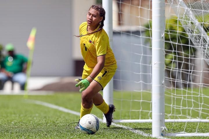 Samoa goalkeeper Repeka Asofa Salele was kept busy against New Zealand.