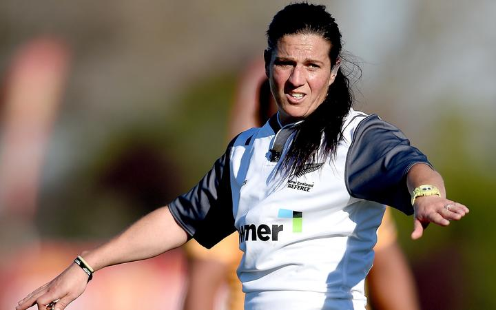 Referee Rebecca Mahoney in action during the Ranfurly Shield match between Otago and North Otago.