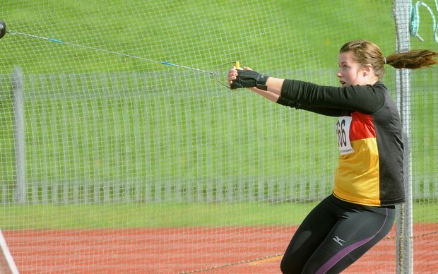 Julia Ratcliffe of Waikato in action in the senior womens hammer throw final, Athletics New Zealand Track & Field Championships day 2, 26 March 2011, Dunedin.
