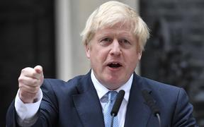 Britiain's PM Boris Johnson delivering a statement outside 10 Downing Street, 2 September 2019.