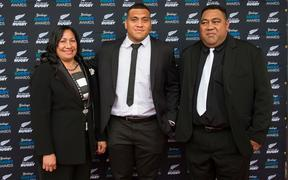 Atu Moli with mother Luseane and father Sione at the 2015 NZ Rugby Awards.