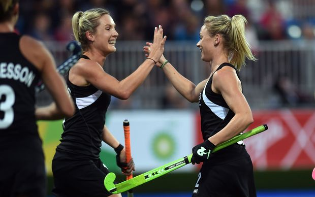 Anita Punt celebrates her goal during a Black Sticks Women v South Africa preliminary pool match at the Glasgow National Hockey Stadium. Glasgow Commonwealth Games 2014.