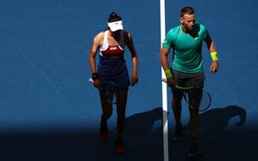 Hao-Ching Chan of Taiwan and Michael Venus of New Zealand during their Mixed Doubles finals match at the 2017 US Open.