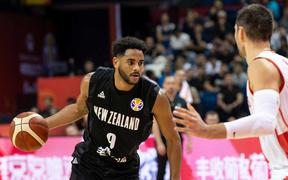 Corey Webster in the Tall Blacks' match against Montenegro