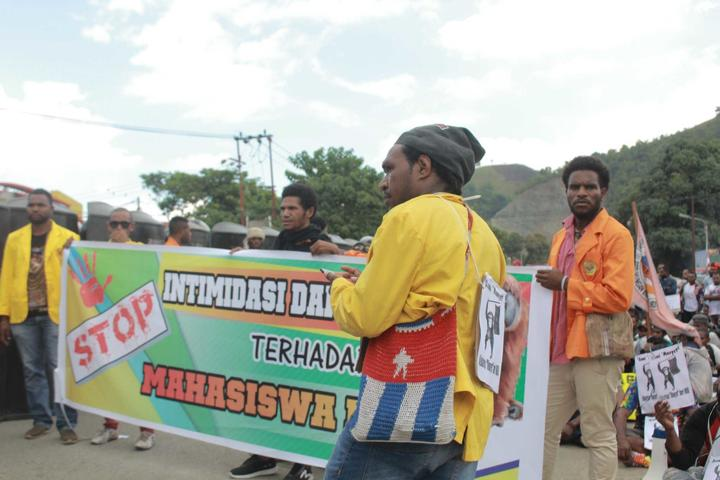 Young Papuans demonstrate in Jayapura following racist attacks on Papuan students, 20 August 2019