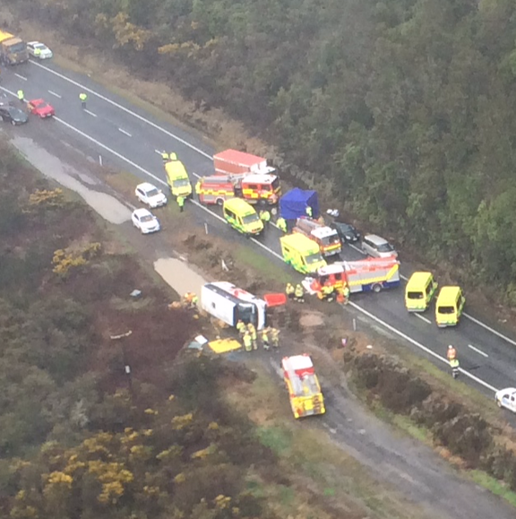 Aerial view of the bus that rolled off State Highway 5 in Ngātira near Rotorua