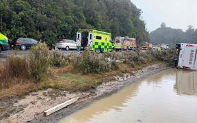 Emergency services at the scene of the bus crash near Rotorua.