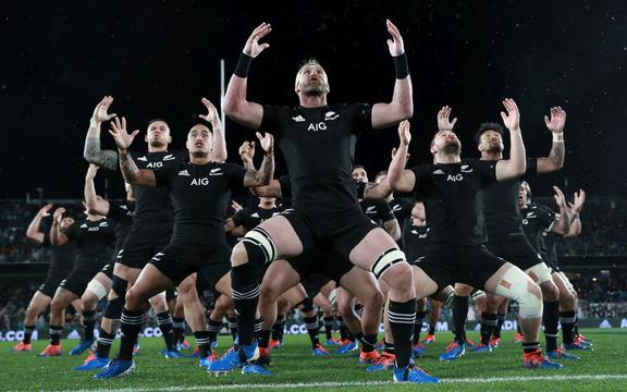 AUCKLAND, NEW ZEALAND - AUGUST 17:  Kieran Read of the All Blacks performs the Haka with team mates during The Rugby Championship and Bledisloe Cup Test match between the New Zealand All Blacks and the Australian Wallabies at Eden Park on August 17, 2019 in Auckland, New Zealand. (Photo: POOL)