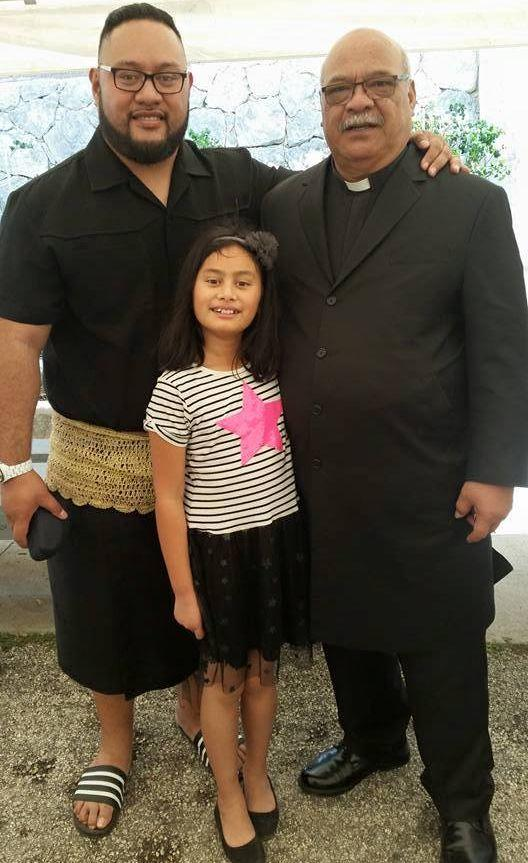 Attending a church service in Tonga with my father and daughter