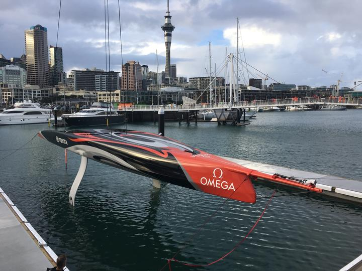 Team New Zealand's A-C 75, a full-size 75-foot foiling monohull, revealed on 6 September.