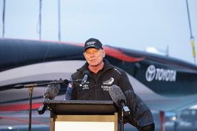 Grant Dalton at the launch of Team New Zealand's AC 75 on 6 September.