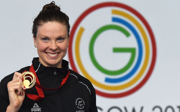 Lauren Boyle after being presented with her Commonwealth Games gold medal in the 400m freestyle.