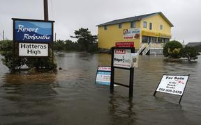 RODANTHE, NORTH CAROLINA - SEPTEMBER 05: The roads remain flooded Hurricane Dorian hit the area on September 6, 2019 in Rodanthe, North Carolina. Dorian passed Charleston S.C. yesterday as a category 3 storm