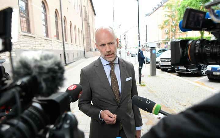 Henrik Olsson Lilja, the lawyer of US rapper Rakim Mayers, known by his stage name Asap Rocky, talks to the press after a hearing in his trial over a street brawl on July 5, 2019 in Stockholm.
