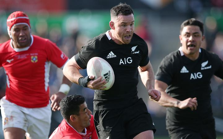 All Blacks midfielder Ryan Crotty on the burst in the side's big win over Tonga.