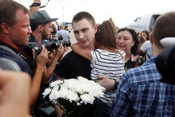 Relatives meet Ukrainian prisoners who jailed in Russia at Boryspil International Airport in Kiev, Ukraine on September 07, 2019.