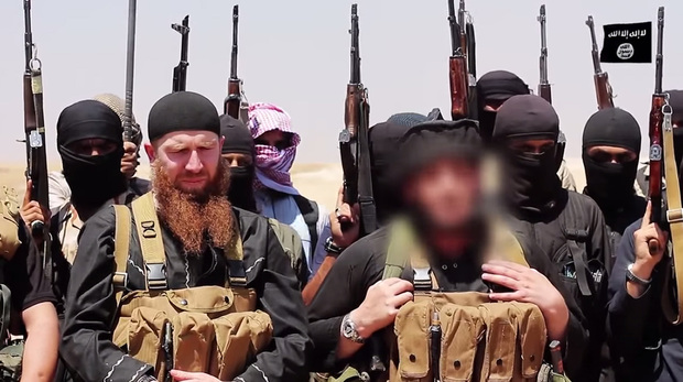 An image made available by Jihadist media claims to show members of Islamic State.