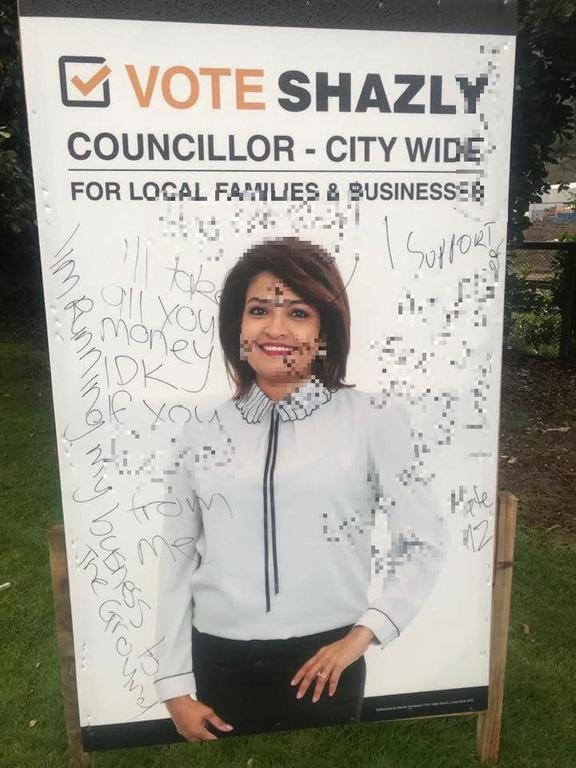 Hutt City Council candidate Shazly Rasheed's defaced billboard