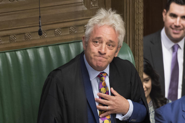 Speaker of the House of Commons John Bercow announces he will stand down by 31 October.