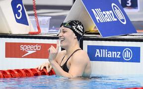 New Zealand's Sophie Pascoe wins the womens 100m freestyle S9 at the World Para Swimming Championships in London.