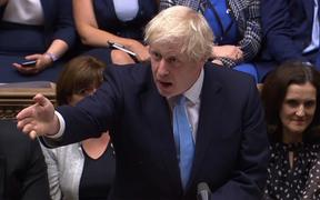 Britain's Prime Minister Boris Johnson  puts forward a motion for an early general election in the House of Commons in London on September 9.