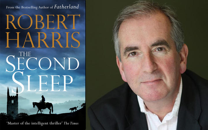 Best-selling author Robert Harris and the cover of his latest novel The Second Sleep.