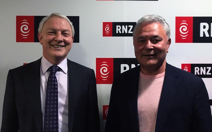 Phil Goff and John Tamihere in RNZ's Auckland office for their mayoral debate.
