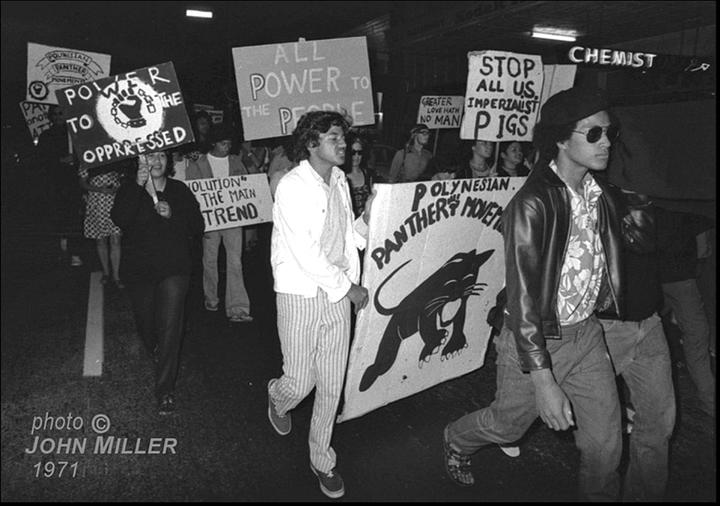 The Polynesian Panthers at a prtest rally in the 1970s.