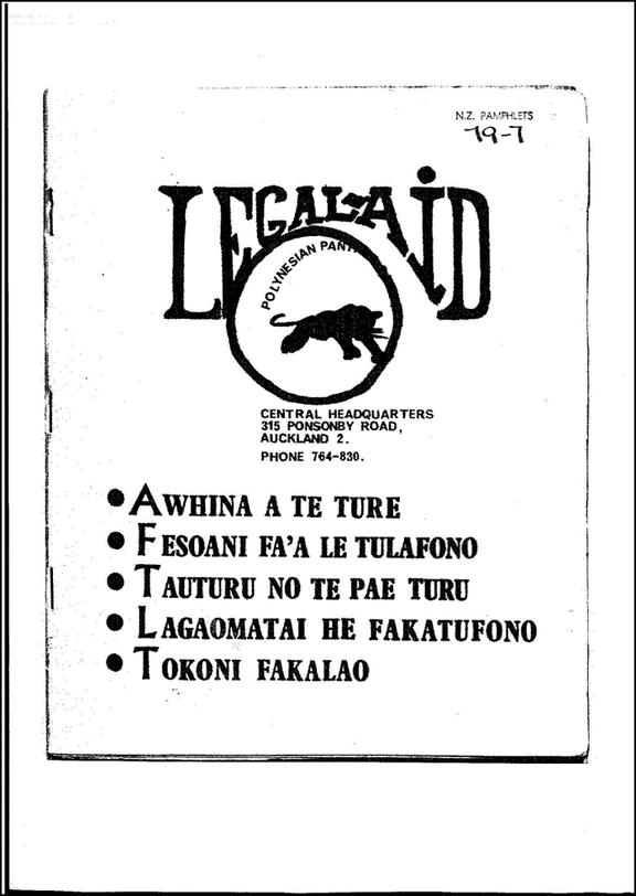 The Legal Aid handbook created for the Polynesian Panthers by David Lange.