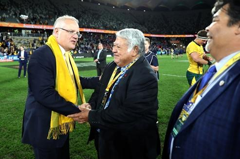 Australian PM Scott Morrison and Samoa PM Tuilaepa Sailele Malielegaoi following the Wallabies victory in Parramatta.