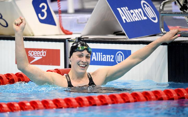 Sophie Pascoe after winning gold in the women's 100m butterfly S9 at the World Para Swimming Championships in London