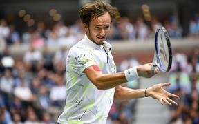 FLUSHING MEADOW, NY - SEPTEMBER 08: Daniil Medvedev (RUS) in action during the men's singles title of the US Open on September 8, 2019, at the Billie Jean King Tennis Center in Flushing Meadow, NY. (Photo by Cynthia Lum/Icon Sportswire)