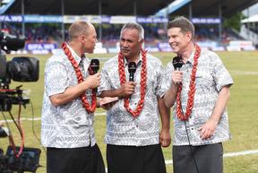 Fauono Ken Laban (c) with Jeff Wilson and John Campbell during the Manu Samoa vs All Blacks test in Apia in 2015.