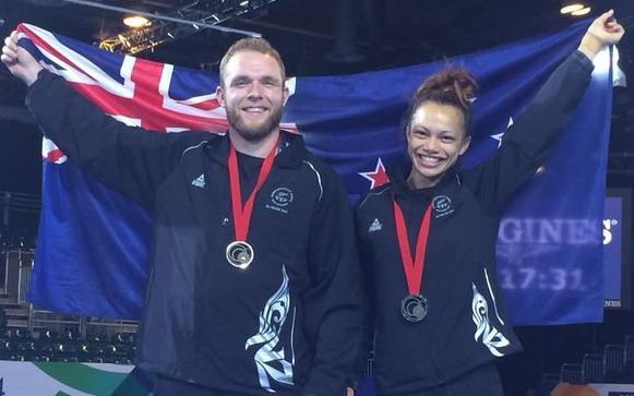 Bronze medallists in wrestling Sam Belkin & Tayla Ford.