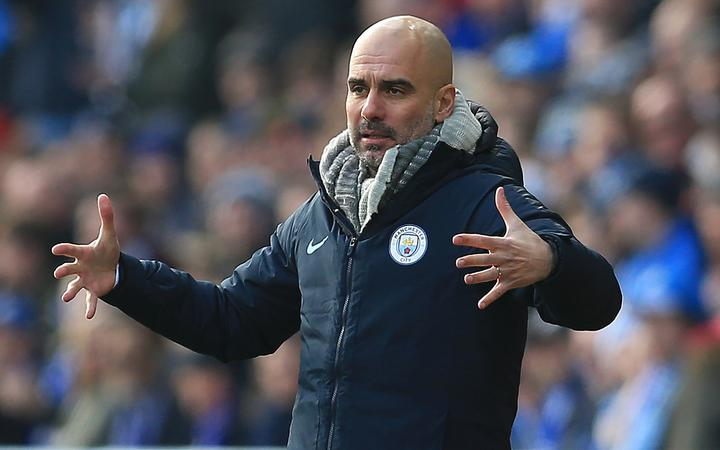 Manchester City manager Pep Guardiola shows his frustration.