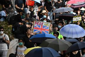 Pro-democracy protesters in Hong Kong on September 15, 2019.