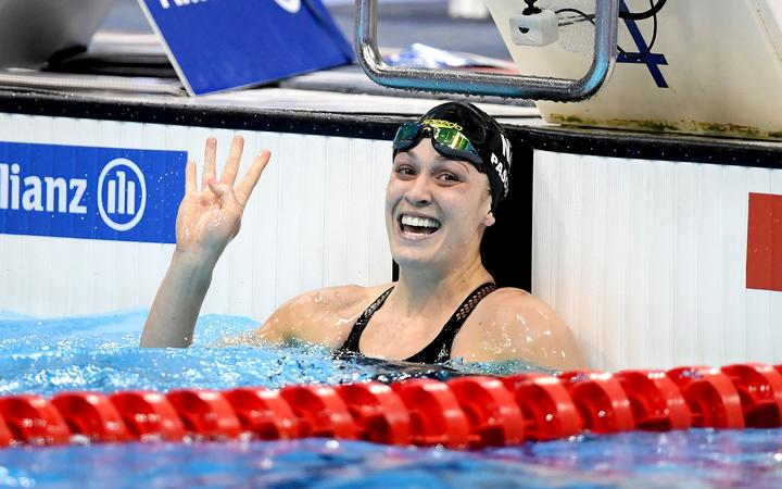 New Zealand's Sophie Pascoe wins her 4th gold medal at the World Para Swimming Championships.