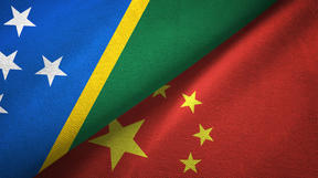 Solomon Islands and China flags together