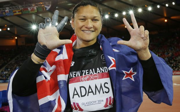 Valerie Adams celebrates winning gold at the Glasgow Commonwealth Games.