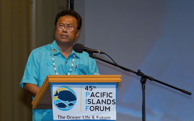Palau President Tommy Remengesau delivers a speech at the 45th Pacific Islands Forum in Palau.