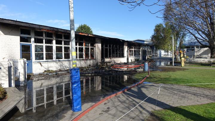 Fire gutted a block of four classrooms at Russley School in Christchurch