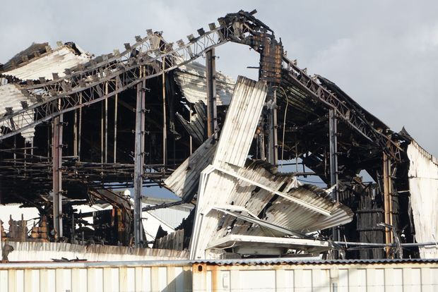 The fire-damaged Auckland Film Studios.